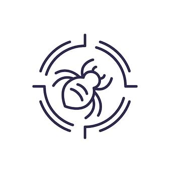 Icono de línea de control de plagas con un error
