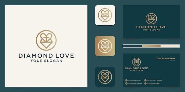 Icono de línea de corazón de diamante