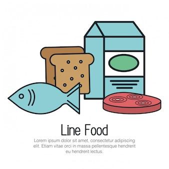 Icono de línea deliciosa comida aislada