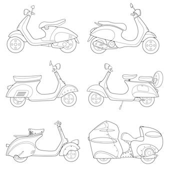Icono de línea de dibujo de moto scooter