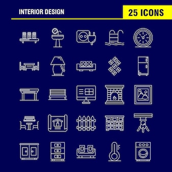Icono de línea de diseño de interiores