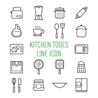 Icono de línea de electrodomésticos de cocina