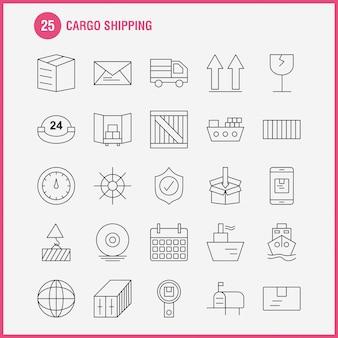 Icono de línea de envío de carga