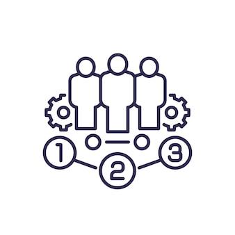 Icono de línea de gestión de equipo con engranajes