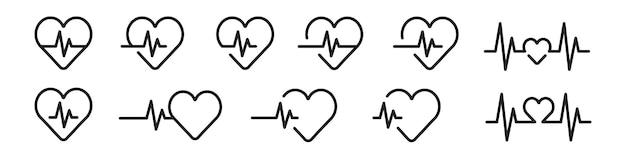 Icono de línea de latido del corazón en negro.