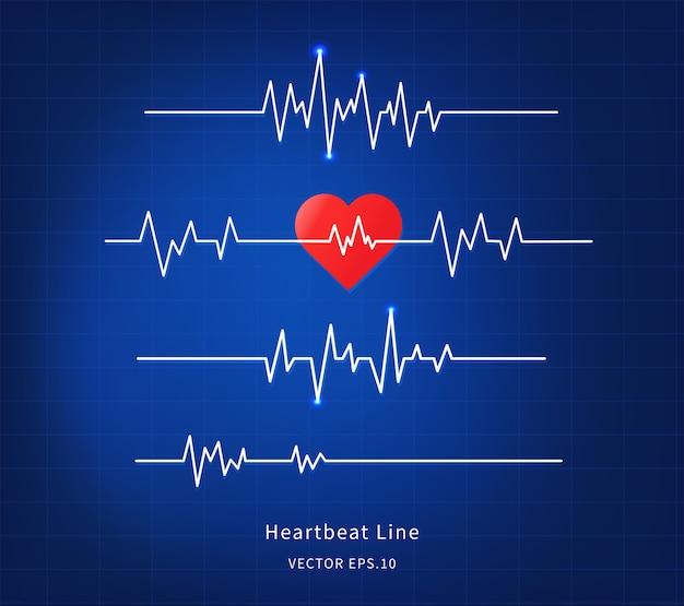 Icono de línea de latido del corazón