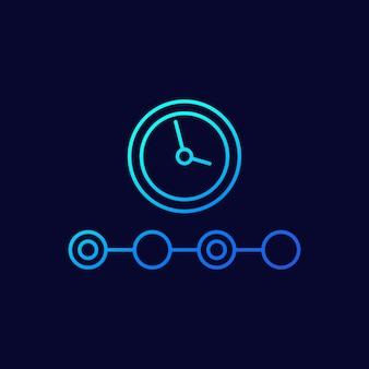 Icono de línea de línea de tiempo en la oscuridad