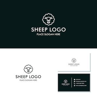 Icono de línea de logotipo de vector de cabeza de oveja