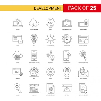Icono de la línea negra de desarrollo - 25 conjunto de iconos de esquema empresarial