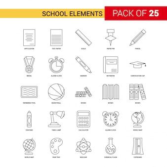 Icono de línea negra de elementos escolares