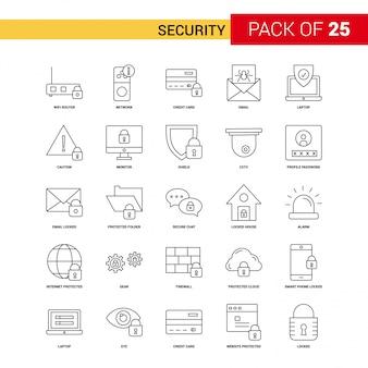 Icono de línea negra de seguridad - 25 conjunto de iconos de esquema de negocios