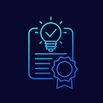 Icono de línea de patente en la oscuridad