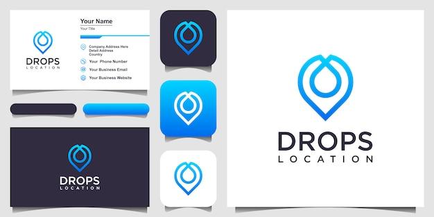 Icono de línea de pin de ubicación de gota de agua. signo de estilo lineal diseño de logotipo y tarjeta de visita