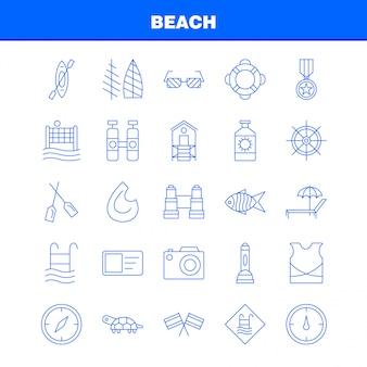 Icono de línea de playa
