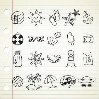 Icono de línea temática de verano