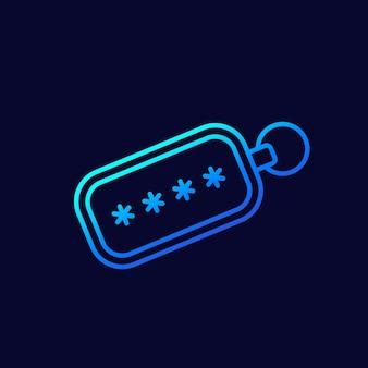 Icono de línea de token de seguridad para web