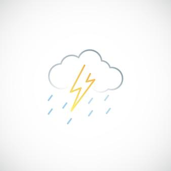 Icono de línea de trueno y lluvia