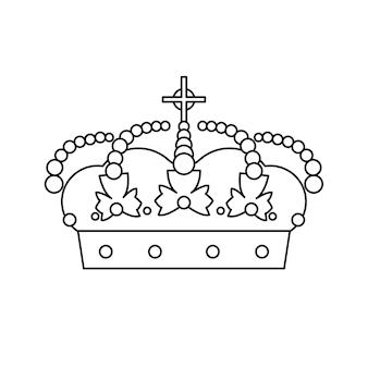 Icono de línea de vector de concepto de corona. icono de línea de corona aislado sobre fondo blanco