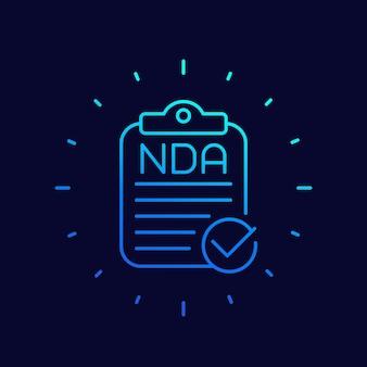 Icono de línea de vector de documento de acuerdo de nda