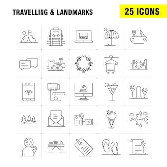 Icono de línea de viaje y lugares de interés