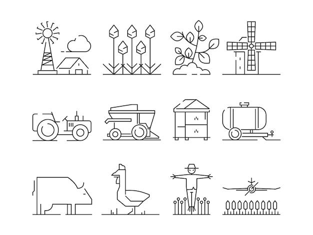 Icono lineal de granja. agricultura naturaleza aldea campos trigo símbolos aislados