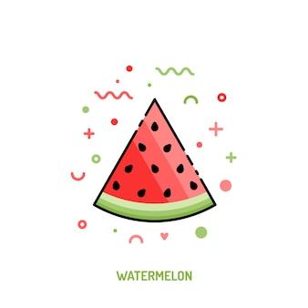 Icono lineal de sandía sobre fondo blanco. cartel de verano de moda de frutas