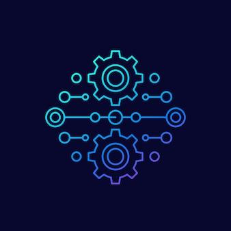 Icono lineal de vector de integración o automatización