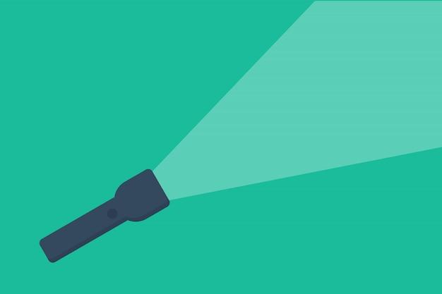 Icono de linterna con estilo plano ligero