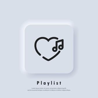 Icono de lista de reproducción favorita. canciones. reproductor de música. logotipo de la lista de reproducción. vector. icono de interfaz de usuario. botón web de interfaz de usuario blanco neumorphic ui ux.