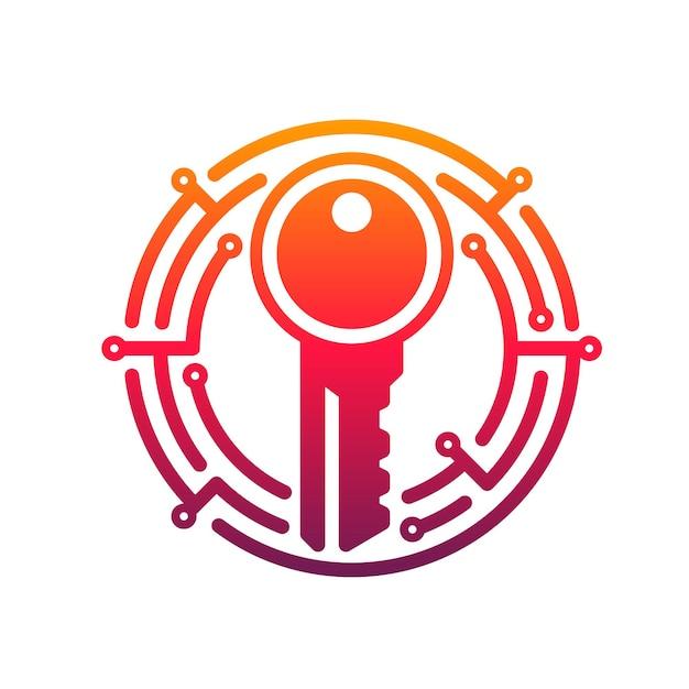 Icono de llave de seguridad cibernética de datos de red seguros