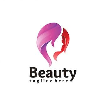 Icono de logo de belleza cabello mujer