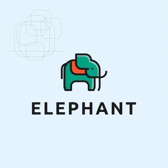 Icono logo elefante con cncept geométrico