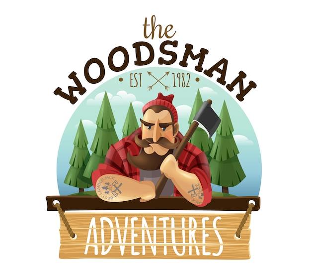 Icono de logo de leñador woodsman adventures
