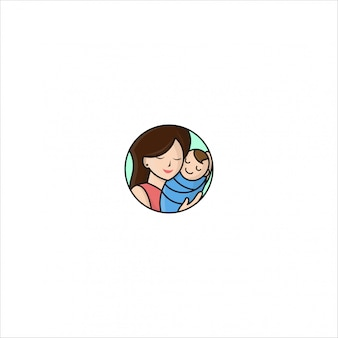 Ícono logo premium mamá y niño