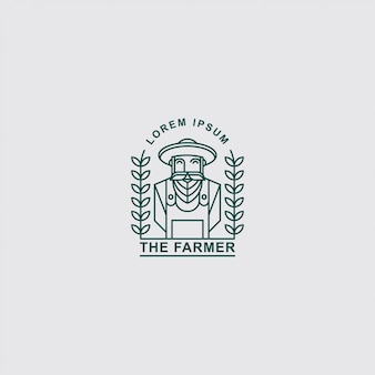 Icono logo viejo granjero con arte lineal