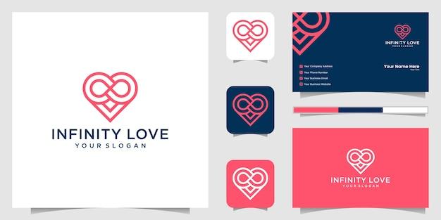 Icono de logotipo de bucle infinito de corazón y tarjeta de visita