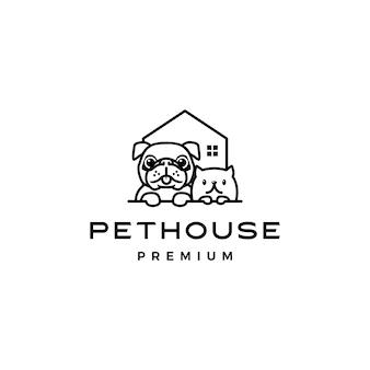 Icono de logotipo de casa de perro gato mascota casa