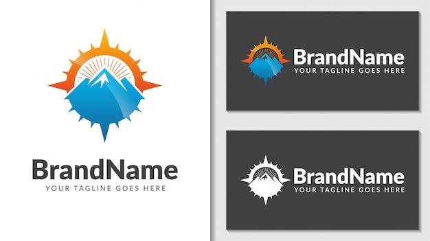 Icono de logotipo de concepto de brújula de montaña