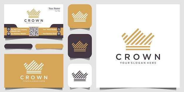 Icono del logotipo de corona con estilo de rayas de línea y tarjeta de visita
