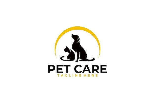 Icono de logotipo de cuidado de mascotas