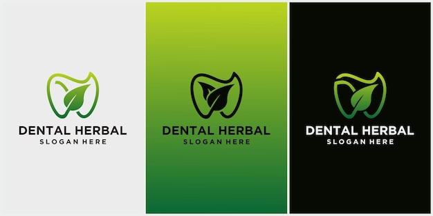 Icono de logotipo dental y hoja, diseño de atención dental con concepto de hierbas, logotipo para dentista, vector aislado de símbolo de hoja y diente verde, adecuado para clínica de odontología o pasta de dientes a base de hierbas