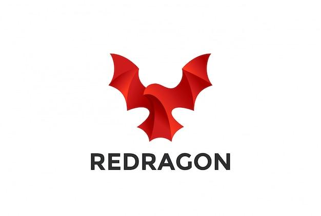 Icono del logotipo del dragón rojo volador.