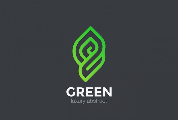 Icono del logotipo de eco bio green abstract. estilo lineal