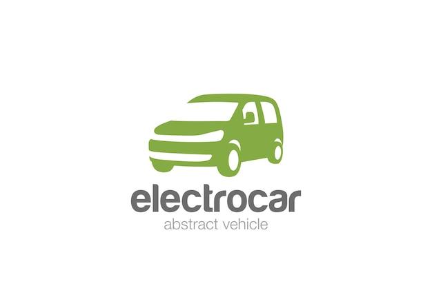 Icono de logotipo de entrega de coche van. estilo de espacio negativo.