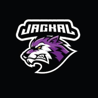 Icono de logotipo de ilustración de mascota de esport de cabeza de chacal lobo agresivo