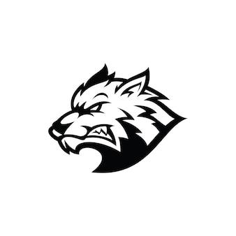 Icono de logotipo de ilustración de silueta de contorno de cabeza de lobo agresivo en color blanco y negro