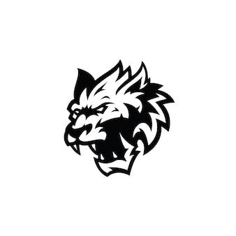 Icono de logotipo de ilustración de silueta de contorno de cabeza de lobo enojado en color blanco y negro
