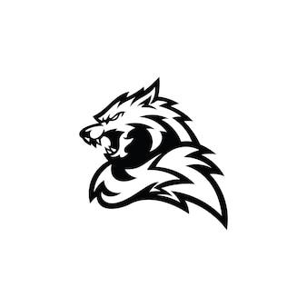 Icono de logotipo de ilustración de silueta de contorno de cola de cabeza de lobo o zorro enojado en color blanco y negro