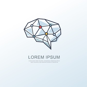 Icono de logotipo de inteligencia cerebral digital
