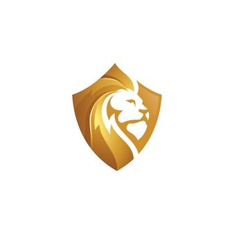 Icono de logotipo de leo león y escudo de oro